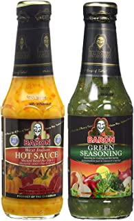 Baron West Indian Hot Sauce and Green Seasoning 14oz (Pack of 2)