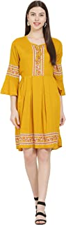 A R J FASHION Casual Fit and Flare Dress for Girls & Women by Yellow Colour (S to XL)