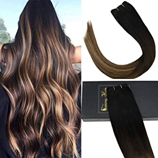 Sunny 7A Salon Quality 100g Brazilian Human Hair Weave Bundles for Women,Balayage Natural Black Fading to Medium Brown Mixed Caramel Blonde Hair Extensions Human Hair Weft,16inch