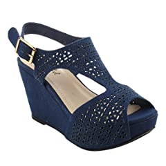 f902a8b1df3 Bonnibel Women s Platform Wedge Heel Cut Out Sling Back Sandals