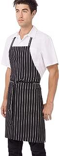 blue and white striped chef apron