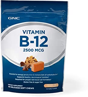 GNC Vitamin B-12 Soft Chew 2500mcg, Chocolate Chip Cookie Dough, 60 Chews, Supports Carbohydrate Metabolism and Energy Production