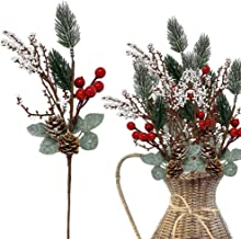 Pine Pick Decorations 10 Pcs– White Pip and Red Holly Berries Pine Cones Christmas Floral Sprays Bendable Stems - Great for Seasonal Wreaths Centerpieces Crafts DIY Party Décor
