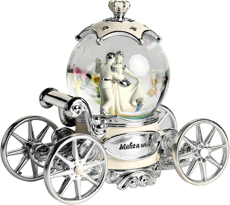 Non Rock Spieluhr, Motiv Braut und Brutigam, mit Kristallkugel zum Aufziehen, LED, mit Musik des Hochzeichtsmarschs