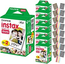 FujiFilm Instax Mini Instant Camera Film: White (8 Packs: 160 Film Sheets) + Bundle with 24 Sheets of Self-Adhesive Photo Corners | Compatible with Mini 9, Mini 8, Mini 25, Mini 90, Fuji SP-1, SP-2