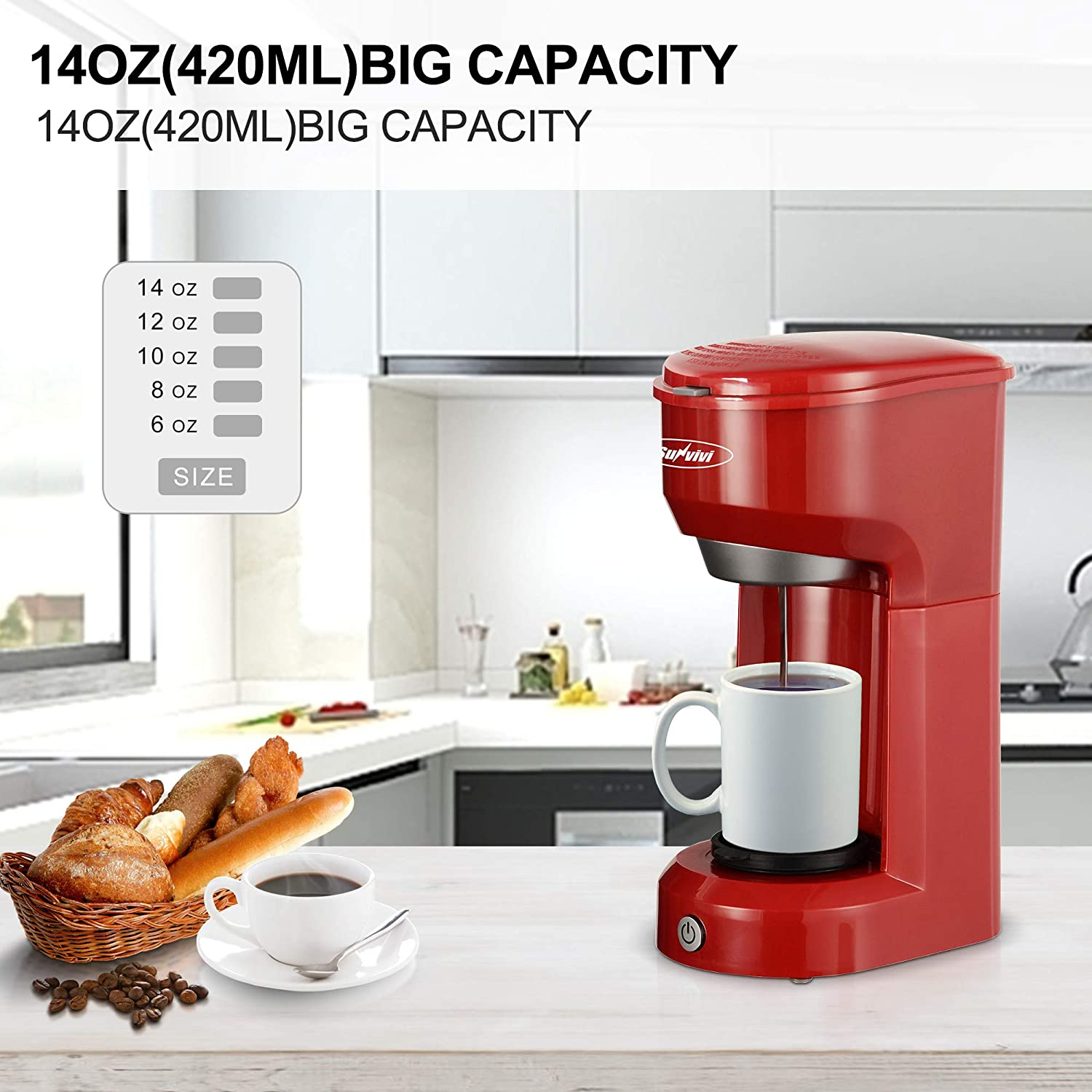 Single Serve Coffee Maker Brewer for Single Cup, Single Cup Coffeemaker With Permanent Filter