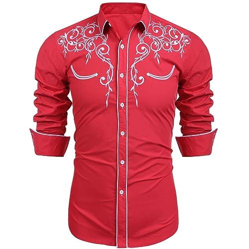 7fb1d9ccf51 Mens Casual Shirts Long Sleeve Embroidery Slim Fit Fashion Retro Dress  Cowboy Shirt