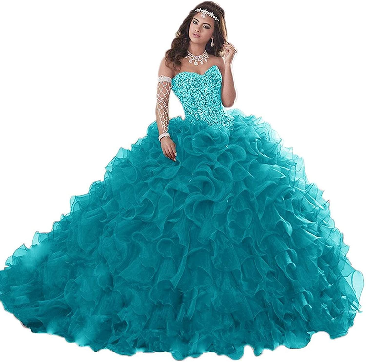 20KyleBird Women's Elegant Strapless Organza Quinceanera Dresses Long Sweetheart Beaded Prom Evening Ball Gowns KB021