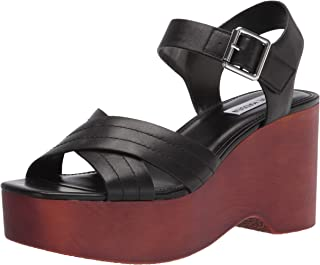 Steve Madden Women's Platform Sandal Wedge, Black Leather, 9