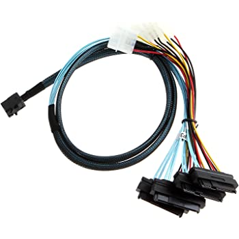 CableCreation Internal Mini SAS SFF-8643 to (4) 29pin SFF-8482 connectors with SATA Power, 1M / 3.3FT