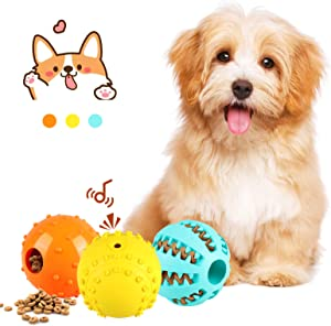 Slopehill 3 Interactive Dog Balls-Durable IQ Treat Dispensing Dog Toys Balls, Puzzle Squeaky Tennis Balls for Puppy Entertainment Chewing, Natural Rubber Balls for Small Medium Dogs Teeth Cleaning