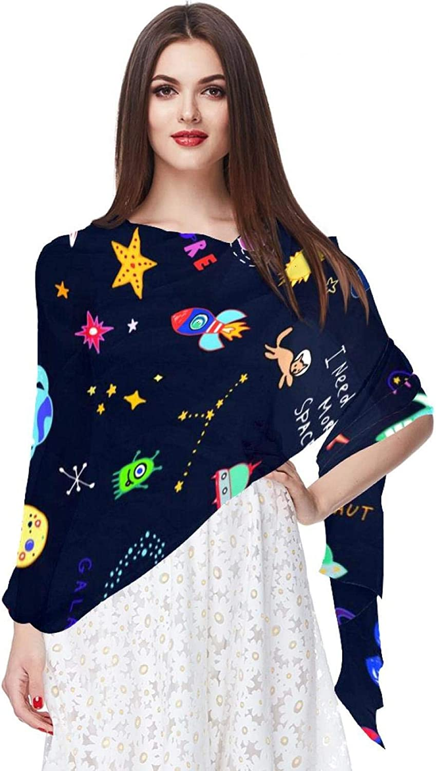 Scarfs for Women Lightweight Print Floral Pattern Scarf Shawl Fashion Scarves Sunscreen Shawls, Space Pattern