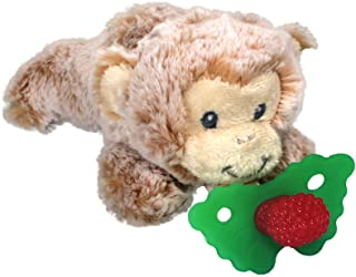 RaZbaby RaZbuddy RaZberry Teether/Pacifier Holder w/Removable Baby Teether Toy - 0M+ - Bpa Free - Monkey
