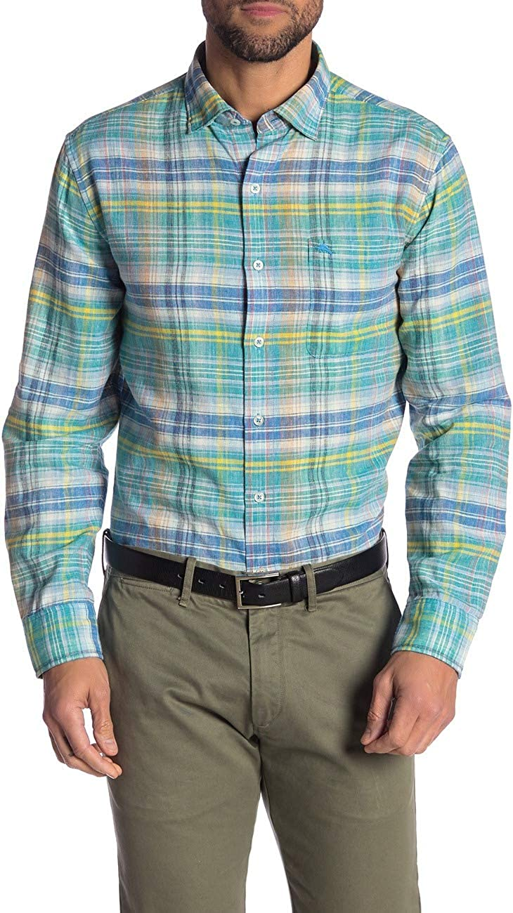 Tommy Bahama Island Zone Large-scale sale Long Sleeve Linen Madras Nod Blend to C Max 68% OFF