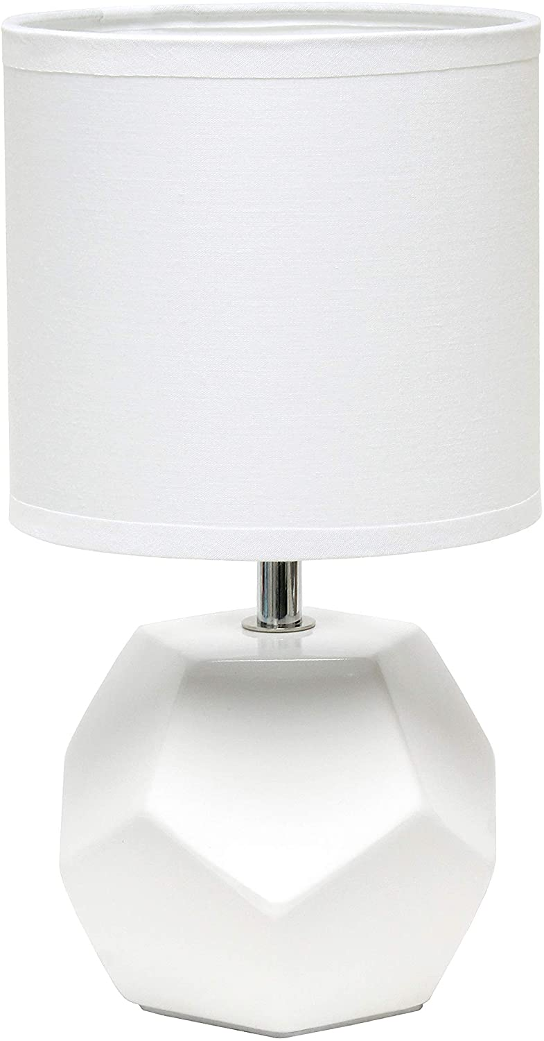 Simple Designs LT2065-WHT Round Prism Mini Matching Fabric Shade Table Lamp, White