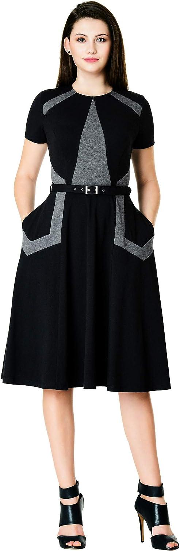 eShakti FX Colorblock Cotton Knit Dress - Customizable Neckline, Sleeve & Length