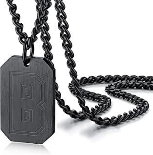 PROSTEEL Initial A-Z Dog Tag Necklace for Men Women, Customize Words Backside, Black/18K Gold Plated 316L Stainless Steel,...