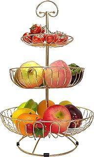 karadrova Corbeille a Fruit Dore Panier a Fruit 3 Étages Grand Panier a Fruits a Etages Or Métal Panier Rangement Fruit 30...