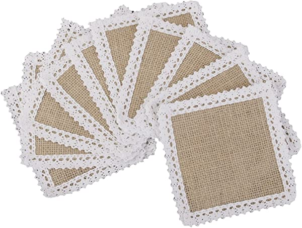 MagiDeal 10x Hessian Burlap Cup Mats W Lace Coasters Wedding Party Decor 11 5x11 5cm