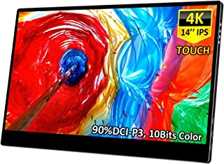 4K Portable Touch Monitor,Corkea 14 Inch 3840×2160 Resolution IPS UHD Touchscreen Display,HDMI/USB C Input,Wide Color Gamu...