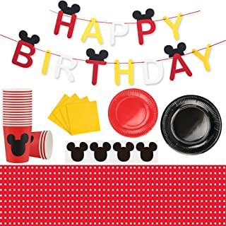 Mickey Mouse Party Supplies Set, Large Plates Cups Napkins Tablecloth Tableware Kit for Kids Party Decorations Mickey Mouse Theme Party Supplies