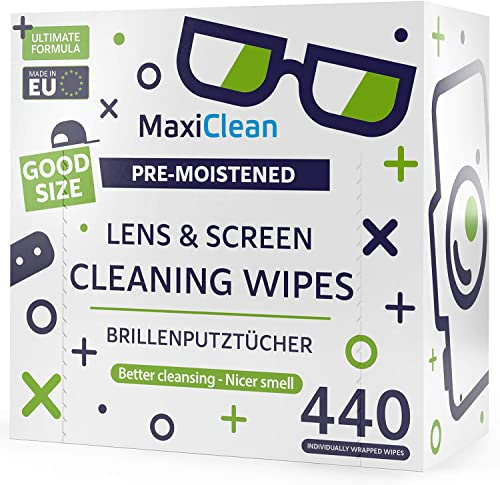 MAXI CLEAN Lens Wipes - 440 Pre-moistened Eyeglass Cleaning Wipes - Cleaner for Glasses, Laptops Screens, Binoculars,...