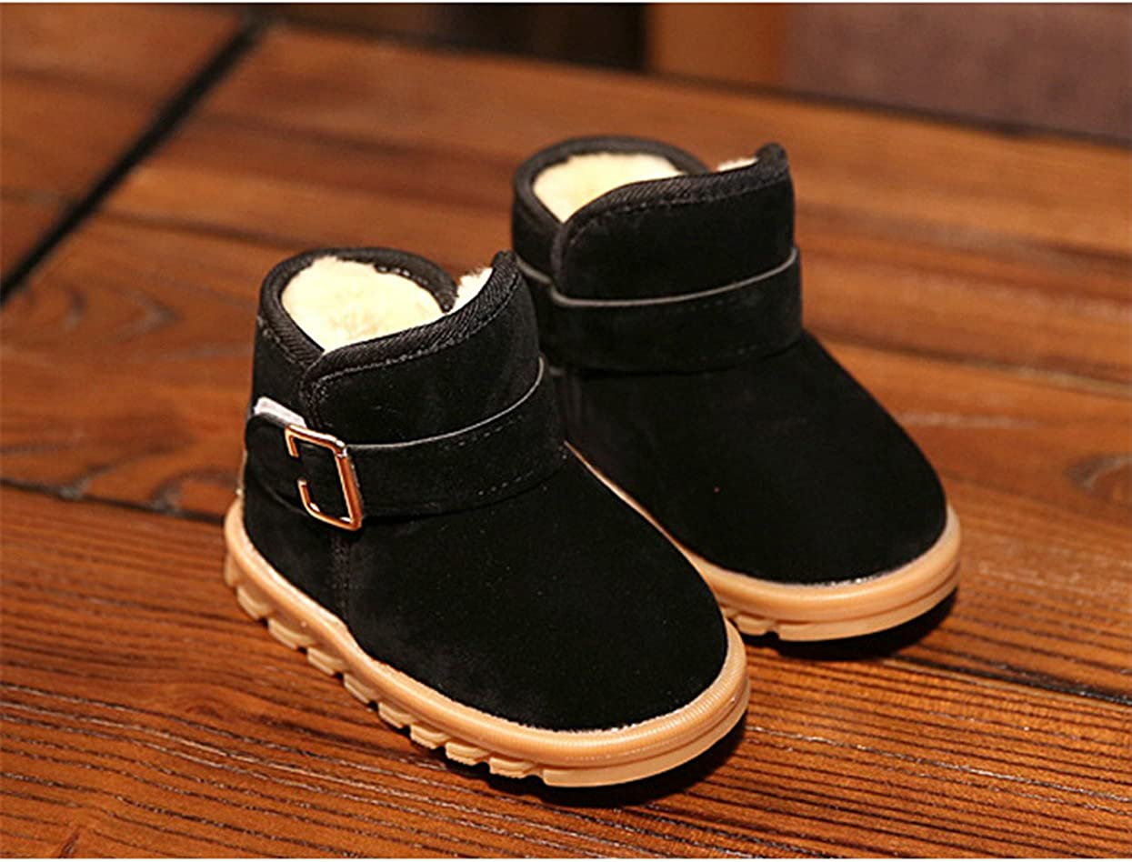 EsTong Toddler Baby Boy Girl Thick Winter Outdoor Snow Boots Anti-Slip Fur Lined Booties