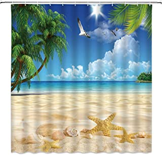 BCNEW Ocean Shower Curtain Palm Trees Birds Starfish Conch on The Beach Tropical Landscape Polyester Fabric Bathroom Decor 70�70 Inch with Hook Hole