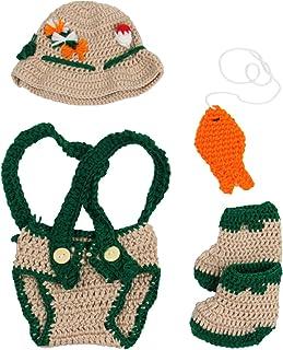 Jastore Baby Newborn Photography Prop Crochet Fisherman Costume Hat Diaper Shoes