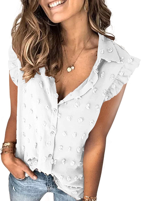 Bdcoco Womens Sleeveless Pom Pom Swiss Dot Blouse Tops Chiffon Button Down Shirts