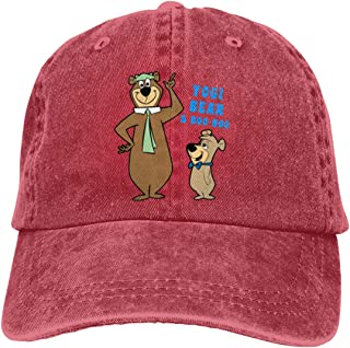Riyuekong Adult Hats Yogi Bear & Boo-Boo Unisex Fashion Plain Cool Adjustable Denim Jeans Baseball Cowboy Cap Red