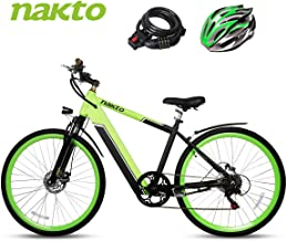 BRIGHT GG NAKTO 26 inch Mountain/City Electric Bike for Adults 300W Motor Ebike with 6 Speed Gear and 36V10Ah Lithium-Ion Battery