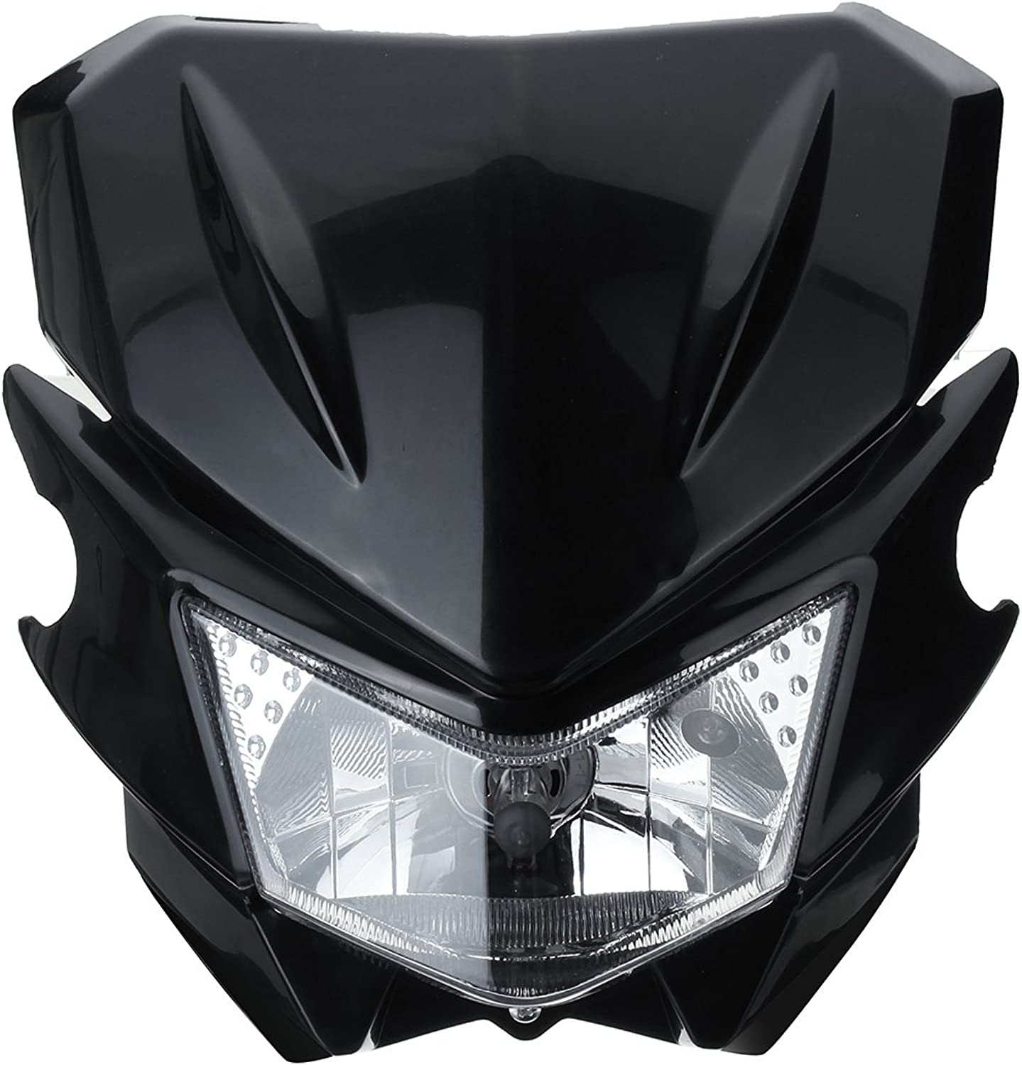 CoCocina 12V H4 Universal Motorcycle Head Light for Yamaha Dual Sport Street Fighter Dirtbike  Black
