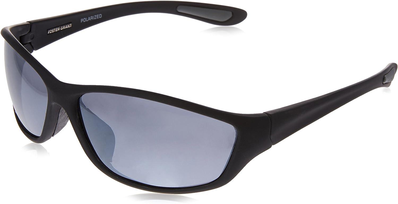 Foster Grant Men's Backstop Polarized Wrap Sunglasses, Black/Black, 150 mm