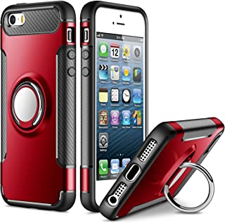 SAMONPOW Kickstand Cover for iPhone 5 Case iPhone SE Case iPhone 5s Case Slim Fit Hybrid Armor Shock Absorption Drop Protection Cover Rubber Rugged Cover with Ring Holder Case for iPhone 5 5s SE Red
