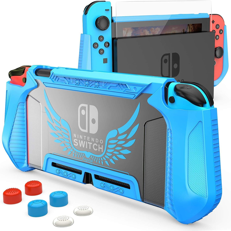 Funda y protector de pantalla para Nintendo Switch (Azul)