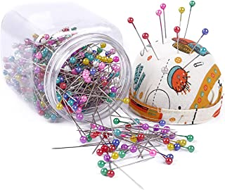 eZAKKA 500pcs Sewing Pins 38mm Multicolor Ball Head Pins Quilting Pins in Plastic Storage Jar Containers with Pin Cushion Lid for Dressmaking Jewelry Components Flower Decoration (Orange)