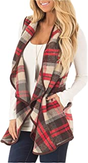 Womens Fashion Lapel Open Front Sleeveless Plaid Casual Vest Cardigan Jacket with Pocket