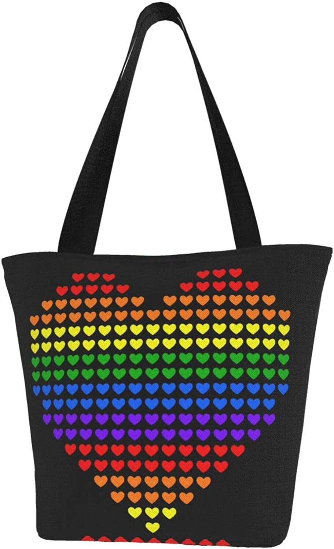 Art Little Love Rainbow Lgbt Themed Printed Women Canvas Handbag Zipper Shoulder Bag Work Booksbag Tote Purse Leisure Hobo Bag For Shopping