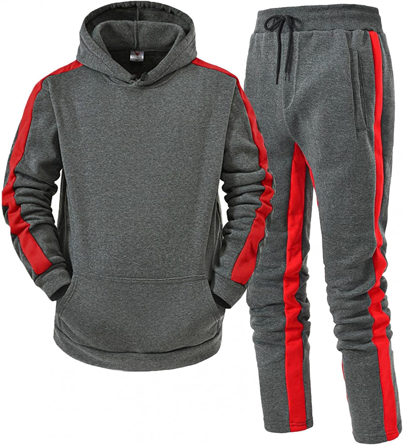 FUNEY Tracksuit Men Stylish Color Block Striped Autumn and Winter Casual Two Piece Athletic Sweatshirt and Jogger Pants Set