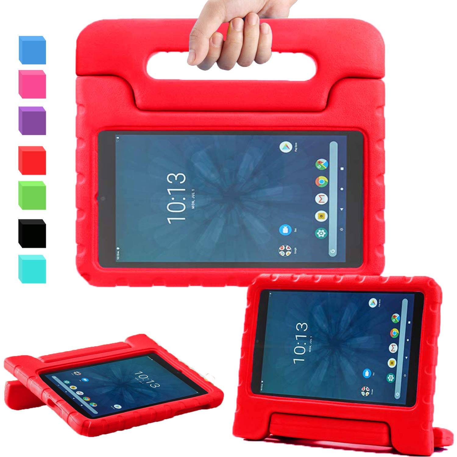 "AVAWO for Walmart Onn 8"" Kids Case, Light Weight Shock Proof Convertible Handle Stand Kids Friendly Case for Walmart Onn 8inch Android Tablet (2019 Release), Red"