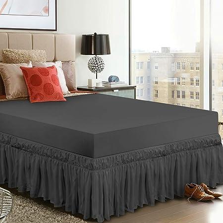 Utopia Bedding Faldón de Cama Elástico con Volantes - Suave Microfibra Cepillada Caída de Volantes: 40 cm - (Individual 99 x 190 cm, Gris)