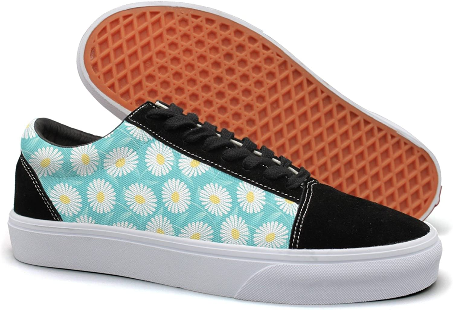 Feenfling bluee Daisy Flower Womens Casual Suede Canvas Low Top Sneaker
