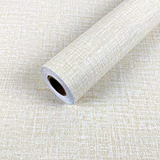 Yancorp Faux Grasscloth Peel Stick Wallpaper Fabric Self-Adhesive Paper Linen Fireaplace Kitchen Backsplash Wall Stickers Door Sticker Counter Top Liners (Cream)