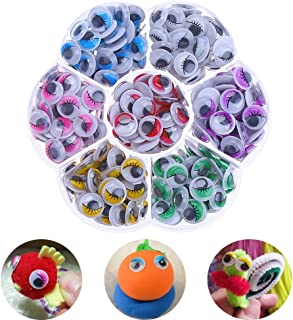 Haichen 210pcs / Set 10mm Self-Adhesive Mix Color (7 Colors) Eyelashes Googly Wiggly Wobbly Eyes Scrapbooking DIY Crafts Children Toys Accessories