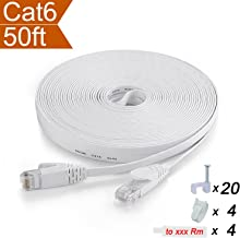CelerCable - Flat Ethernet Cable CAT6 50 Feet with Snagless RJ45 Connectors, Slim Network Cable Flat Cat 6 Ethernet Patch Cable, Internet Patch Cable Computer Networking Cord, 50ft (White)