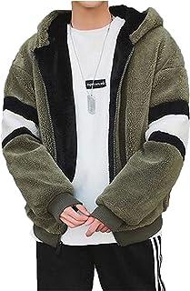 Lisa Pulster モッズコート メンズ アウター 裏起毛 モコモコ 厚手 スプライス フード付き カップル 暖かい 冬 ゆったり 柔らかい ファッション カジュアル