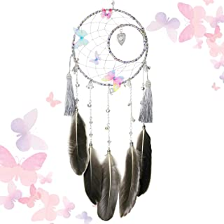 SIKEMAY Butterfly & Bells Dream Catcher - Handmade Exquisite Feather Beaded Large Dream Catchers for Kids/Cars/Bedroom - Indians Traditional Art Wall Hanging Home Decoration