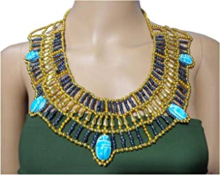 Egyptian Cleopatra Nefertiti Scarab Necklace Collar Choker Hand Made Multi Beaded Beetle Beads King Queen 11