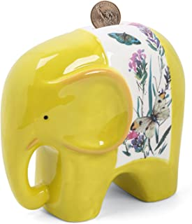 FORLONG FL2018 Ceramic Piggy Bank for Boys and Girls,Big Elephant Money Coin Bank Baby Nursery Decor,Gift for Kids-Yellow